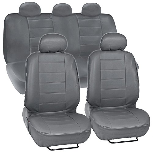 BDK Gray Synthetic Leather Seat Covers for Car & SUV Complete Set - Premium Leatherette, Side Airbag Compatible