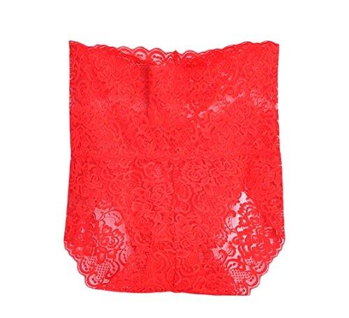 SportsX Women's Sexy See Through Plus Size Lace Brief Seamless Underwear Red XL