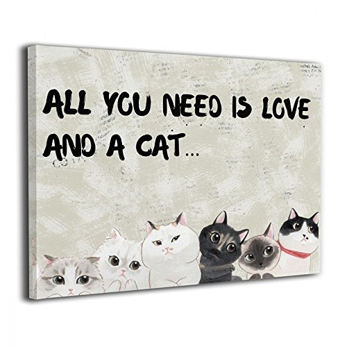 "Art-logo All You Need is Love and A Cat Pet Painting Animal Canvas Wall Art for Home Decor Gallery-Wrapped 16""x20"""