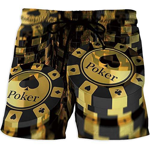 Quick Dry Beach Shorts with Pockets Mesh Lining Swim Short, Poker Tournament De