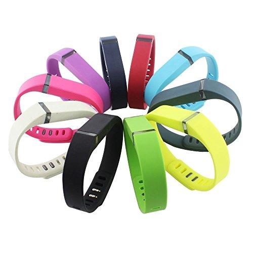 NIUTOP® 10 Set Armband Bracelet with Clasp für Fitbit flex Aktivität und Schlaf armband Ersatz Schwarz , weiß , rosa , gelb, blau , lila, grün , tiefblau , dunkelrot, ,tiefen grauen 10 Farbe combo Set (L)