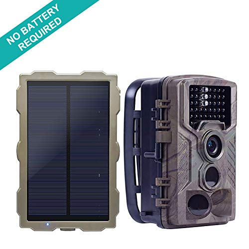 ECO LLC Solar Hunting Trail Game Camera with Portable Solar Panel for Charging Camera | 46Pcs IR LEDs| 16 MP | 0.2 S Trigger Speed | 1080p Video w Audio | 2.4' HD LCD Screen | IP66 Waterproof