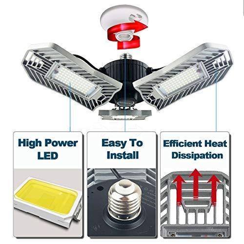 80W Motion Activated LED Garage Lights, Adjustable Trilights Garage Ceiling Lighting, High Bay Deformable LED Corn Light Bulbs with Motion Sensor 8000LM 6000K, HID HPS Metal Halide Lamps 300W Equiv. by GRG (Image #4)