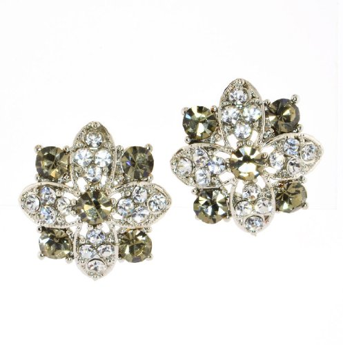 - Clear Crystal Flower Stud Earrings - Olive/Clear