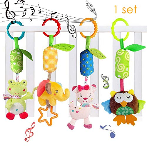 (Easykan 4 Packs Baby Rattle Toy Kids Stroller Hanging Bell Puppet Handbells Baby Car Crib Stroller Toys Cute Wind Chime,Adorable Animal Car Seat Hanging Bell for Tag Along Travel)