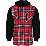 9 Crowns Essentials Sherpa Lined Plaid Flannel Hoodie Jacket-Red/Navy-XL