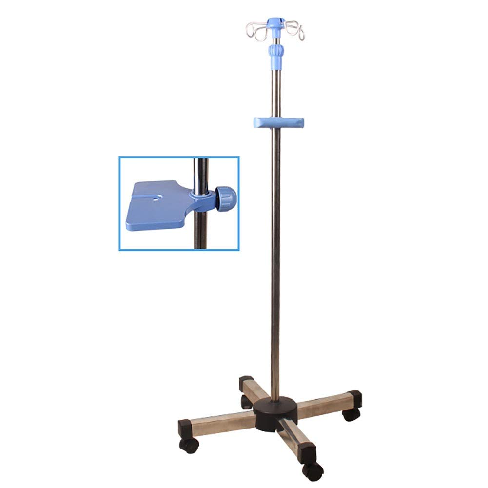 Deluxe Drip Stand with Wheels, 4 Aluminium Hooks, Stainless Steel Infusion Rod for Clinic Home Hospital