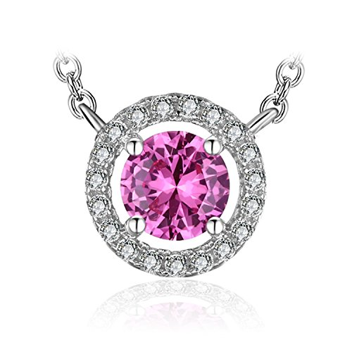 (JewelryPalace Women's 1.2ct Created Pink Sapphire 925 Sterling Silver Solitaire Pendant Necklace 18