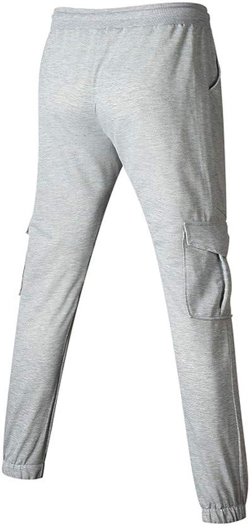 Bowake Mens Jogger Sweatpants Elastic-Waist Drawstring Gym Slim Fit Tracksuit Pockets