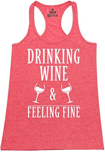 Shop4Ever Drinking Wine & Feeling Fine Women's Racerback Tank Top Wino Tank Tops Medium Red 0 by Shop4Ever (Image #6)