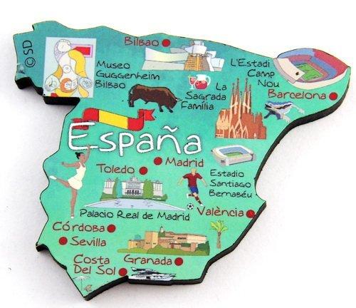 Spain Decowood Jumbo Wood Fridge Magnet 3.25x2.75