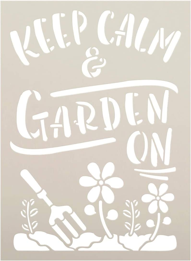 Keep Calm & Garden On Stencil by StudioR12 | Reusable Mylar Template Paint Wood Sign | Craft DIY Ampersand Home Decor | Garden Flower Gift - Outdoor - Porch | Select Size (7.5 inches x 5.5 inches)