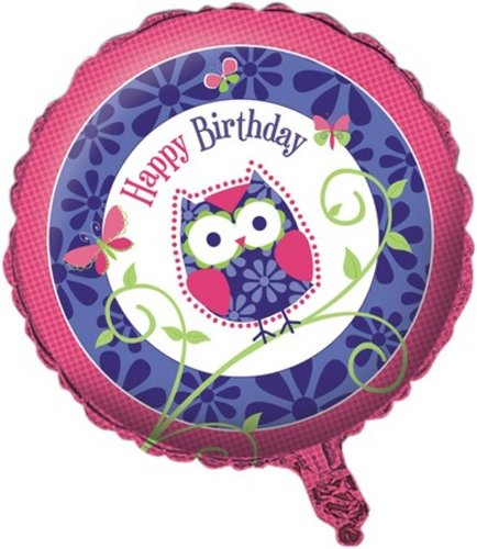 (Two-Sided Mylar Foil Round Balloon, Owl)