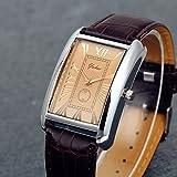 Lancardo Retro Vintage Silver Tone Case Crocodile Pattern Brown Leather Mens Couple Square Watch(Men)