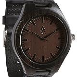 Wood Grain Handmade Mens Black Sandalwood Natural Wooden Watch - Genuine Black Leather Band