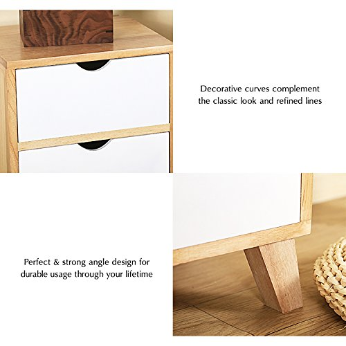 Jerry & Maggie - Nightstand - 2 Tier Curving Pattern Sides Night Stand Storage Bedside Table with 2 Drawer Real Natural Paulownia Wood (2 Tier | Cubric Style) by Jerry & Maggie (Image #5)