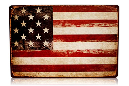 - America USA Flag Man Cave Decor Sign United States American Vintage Retro Metal Tin Military Signs Size: 8x12 Inches