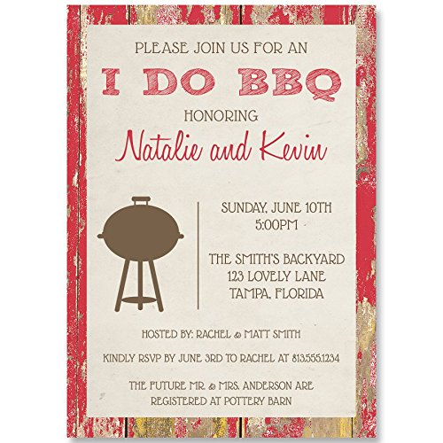Wedding Shower Invitations, Couples, Bridal, I Do BBQ, Barbecue, Red, Barn, Wood, Grill, Cook-Out, Picnic, Bonfire, Retro, Chalkboard, Set of 10 Custom Printed Invites with Envelopes, I Do BBQ Wood