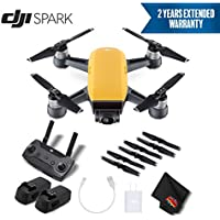 DJI Spark Portable Mini Drone Quadcopter Starter Bundle (Sunrise Yellow) w/Remote Controller + 2 Year Extended Warranty