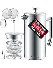 Large French Press Coffee Maker - 50oz, 1.5L Double Wall 304 Stainless Steel Coffee Press - 4 Level Filtration System with 2 Extra Filters, Silver