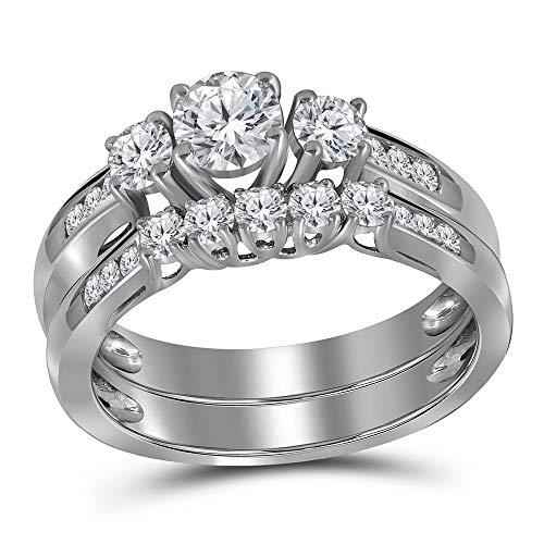 Diamond 3-stone Wedding Ring Set 1.00ct 14k White Gold