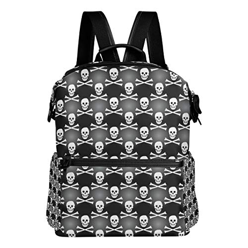 Backpack Black Cool Skulls Mens Laptop Backpacks Shoulder Hiking Daypack