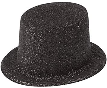 e373a5eab35 12 x Adults Black Glitter Plastic Top Hats Fancy Dress Costume Accessory