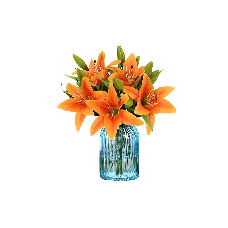 silk flower arrangements rerxn artificial tiger lily latex real touch flower home wedding party decor,pack of 5 (orange)