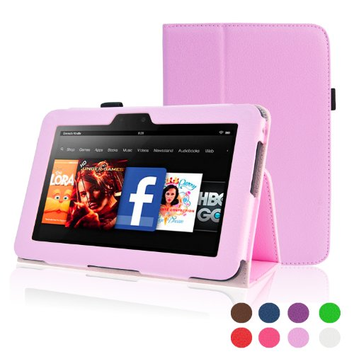 ACdream Kindle Fire HD 7 (2012 Version) Case, Amazon Kindle Fire HD7 (2012 Previous Model) Case - PU Leather Cover Case for Kindle Fire HD 7(2012 Version) with Auto Sleep Wake Function, Pink