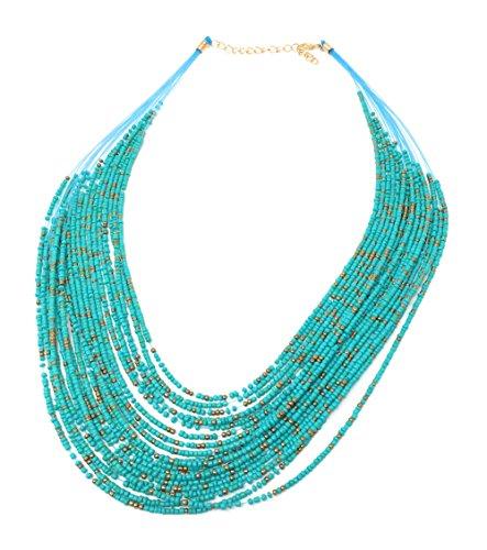 Blazing Autumn Bohemia Style 20 Layers Bib Statement Collar Glass Beaded Choker Necklace Fashion Jewelry For Women ()