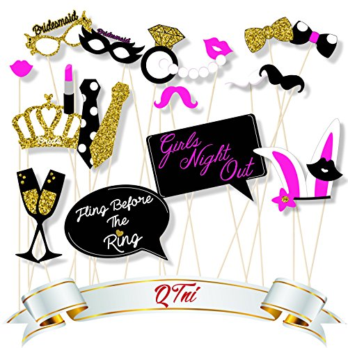 QTni Bachelorette Party Photo Booth Prop Set of 21 with Real Gold Glitter on Super Thick 400 GSM Glossy Cover Cardstock - Game Super Hangover