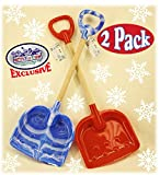 Matty's Toy Stop 28'' Heavy Duty Wooden Snow Shovels with Plastic Scoop & Handle for Kids - 2 Pack (Red & Blue Swirl)