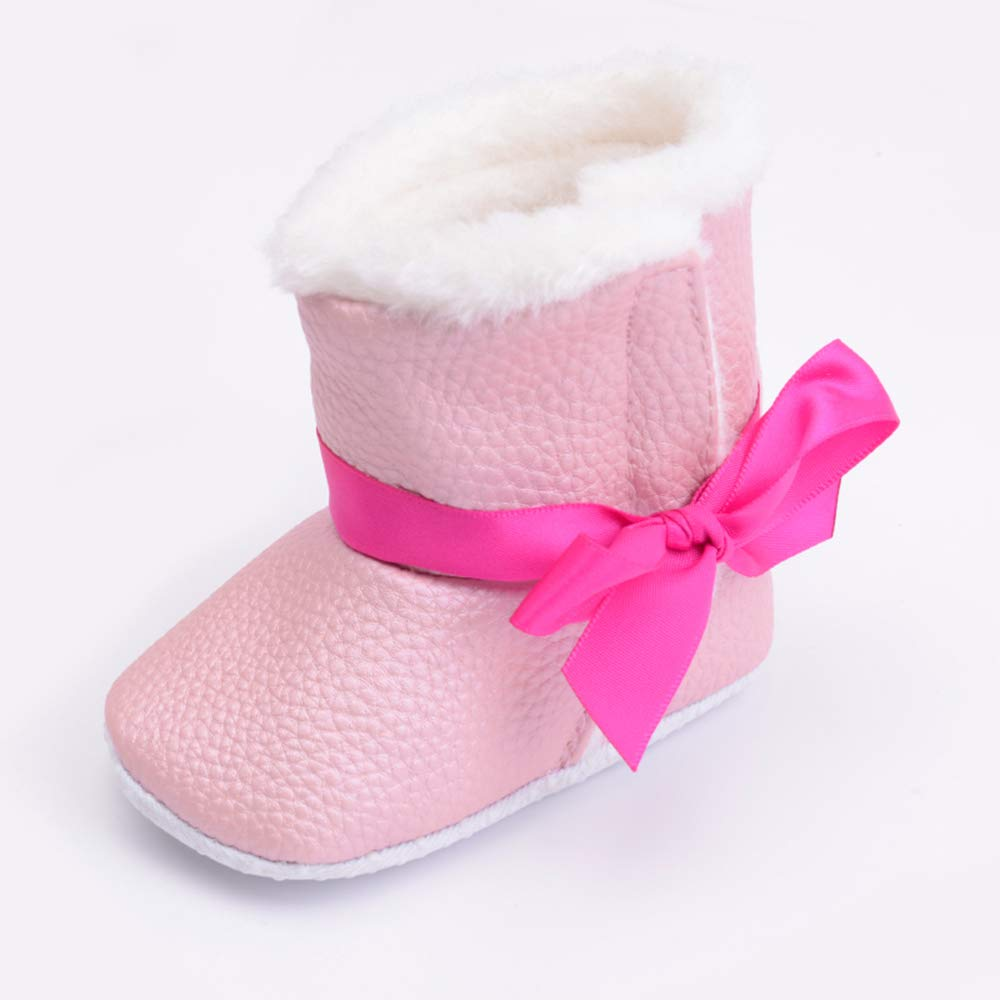 MZjJPN Baby Girls boy First Walker Infant Crib Shoes PU Leather Soft Butterfly-Knot Winter Shoes Cute Anti-Slip