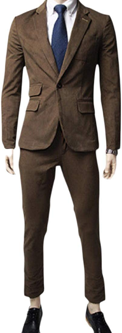 NestYu Mens Notch Lapel Patch Slim Fit Fashion 2-Piece Blazer Suit Jacket