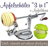 3-in-1 Apple Peeler, Slicer and Corer, Apple Machine with apple container silver grey