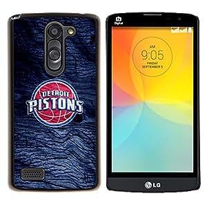 Detroit Piston Baloncesto- Metal de aluminio y de plástico duro Caja del teléfono - Negro - LG L Prime / L Prime Dual Chip D337