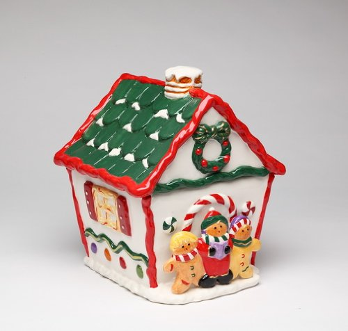 ATD 61776 Red, White & Green Gingerbread House Cookie - Ginger Jar Green