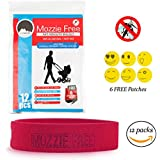 All Natural Mosquito Repellent Bracelets, 12 Bands Per Pack, Deet Free, 100% All Natural, Safe For Children, Pleasant Aroma, Non-Toxic, Lasts Up To 240 Hours, 6 Bonus Bug Repellent Patches (Red)