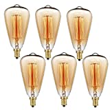 Edison Bulbs,Filament Light Bulbs, E12 ST48 40W 110V Teardrop Filament Vintage Incandescent Light Bulb for Home Light Fixtures Decorative