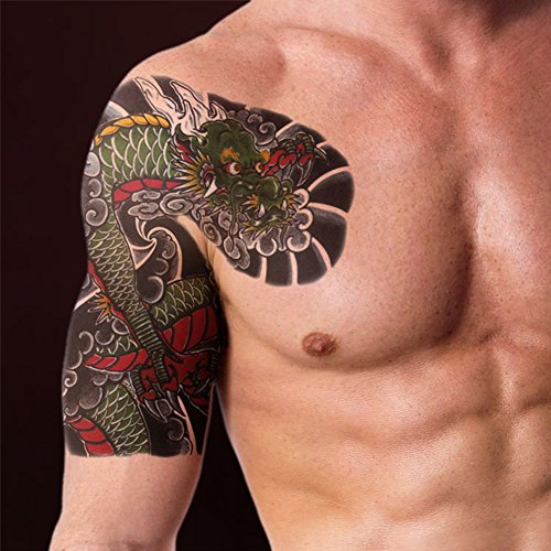 tafly large fake dragon temporary tattoos for men 2 sheets ForFake Tattoos Amazon