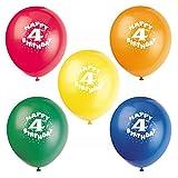 12'' Latex Happy 4th Birthday Balloons, Assorted 8ct