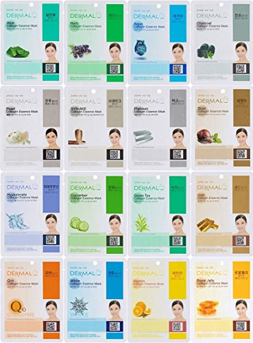Price comparison product image Dermal Korea Collagen Essence Full Face Facial Mask Sheet, 16 Combo Pack