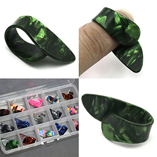 15pcs Stainless Steel Celluloid Thumb Finger Guitar Picks with Case - 8