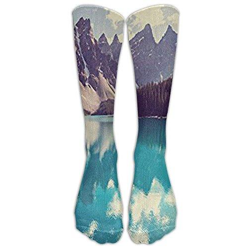 Moraine Lake In Banff National Park Knee High Graduated Compression Socks For Women And Men - Best Medical, Nursing, Travel & Flight Socks - Running & Fitness by pendant necklace