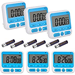 Willbond 6 Pack Digital 24 Hour Alarm Clock Timer Kitchen Timer Magnetic Countdown up Minute Second Timer with Batteries, Blue and White