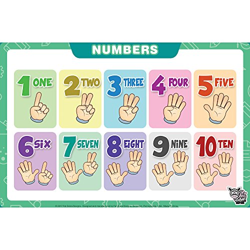 Fat Zebra Designs Educational Placemats - Set of 5 Learning Placemats: Letters, Numbers, Shapes, Addition & Month/Days/Seasons - Easy Clean, Durable & Reusable Kids Table Mats - 12x17 Inches by Fat Zebra Designs (Image #3)