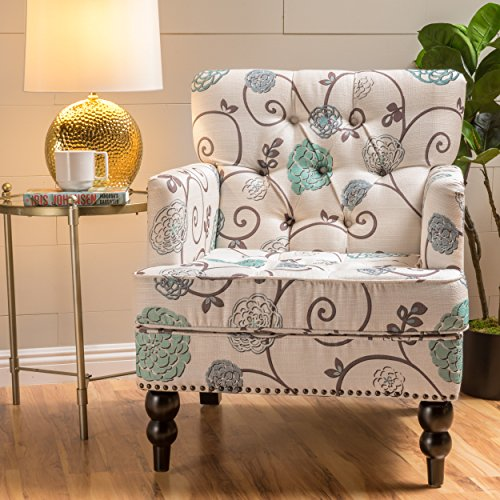 Medford Fabric Club Chair w/ Nailhead Accents (White and Blue Floral) (Blue Accent Chairs For Living Room)