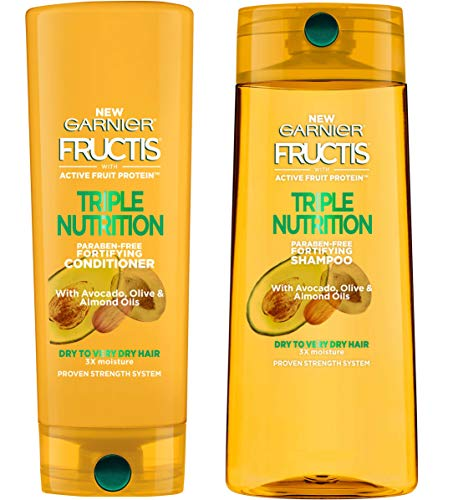 Garnier Fructis Triple Nutrition Fortifying Shampoo & Conditioner Set (25.4oz) Avocado Oil, Almond Oil and Olive Olive Oil, Deep Nourish