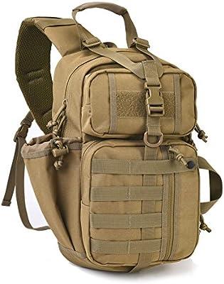 Tactical Sling Bag Pack - Mochila militar con bandolera, Caqui: Amazon.es: Deportes y aire libre