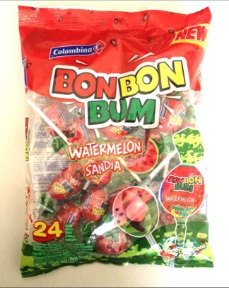 Colombina Bon Bon Bum Watermelon Bubble Gum Lollipops 24 Per Bag 2 Pack